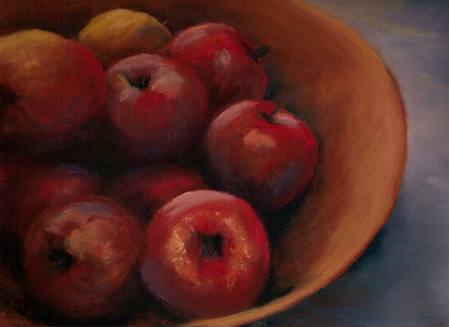 Bowl of Apples, soft pastel, 9x12